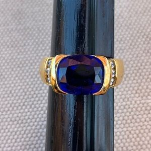 Simulated sapphire, diamond and gold ring